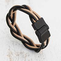 Leather braided wristband bracelet, 'Braided Contrast' - Black and Beige Leather Braided Wristband Bracelet