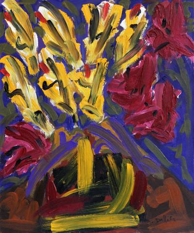 'Flower Series IV' - Signed Impressionist Painting of Flowers from Brazil