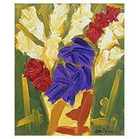 'Beautiful Flowers' - Signed Colorful Impressionist Painting of Flowers