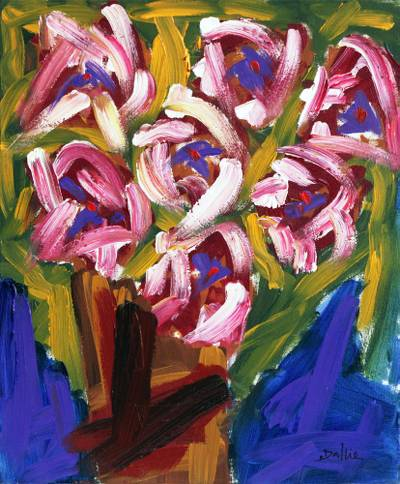 'Fragrant Flowers' - Signed Impressionist Painting of Pink Flowers from Brazil