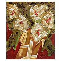 'Beige Flowers' - Signed Impressionist Painting of Flowers in Beige