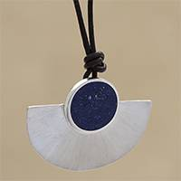 Lapis lazuli long pendant necklace, 'Half Blade' - Adjustable Lapis Lazuli Pendant Necklace from Brazil