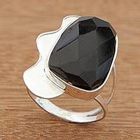 Onyx cocktail ring, 'Stunning' - Handcrafted Faceted Onyx and Sterling Silver Cocktail Ring
