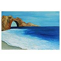 'Jericoaquara Beach' - Blue Impressionist Seascape Painting from Brazil