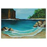 'Ilha Grande' - Signed Impressionist Island Painting from Brazil