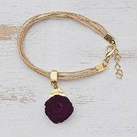 Gold accent wood charm bracelet, 'Burgundy Flower' - Floral Gold Accent Wood Charm Bracelet from Brazil