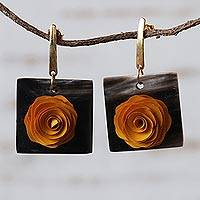 Gold accent wood and horn dangle earrings, 'Striking Rose' - Floral Yellow and Black Wood and Horn Dangle Earrings