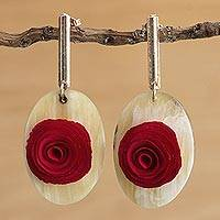 Gold accented wood and horn dangle earrings, 'Oval Rose' - Floral Oval Wood and Horn Dangle Earrings from Brazil
