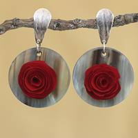 Gold accented wood and horn dangle earrings, 'Floral Touch' - Gold Accent Wood and Horn Rose Dangle Earrings from Brazil
