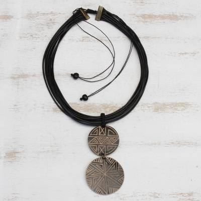 Wood pendant necklace, 'Intricate Lines' - Wood Pendant Necklace with Intricate Line Motifs