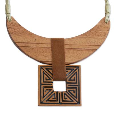 Wood and Ceramic Statement Necklace Handcrafted in Brazil