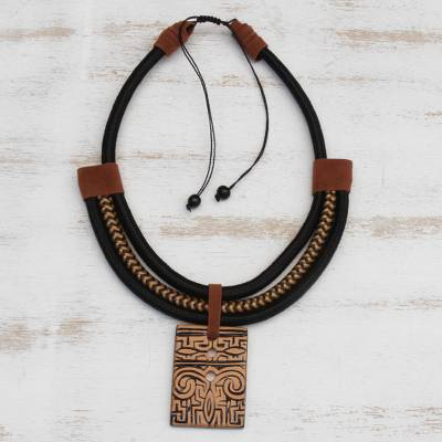 Suede accented ceramic pendant necklace, 'Tribal Accessory' - Suede Accent Ceramic Pendant Necklace from Brazil