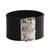 Leather wristband bracelet, 'Owl Gatekeeper in Black' - Leather Owl Wristband Bracelet in Black from Brazil thumbail