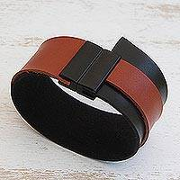 Faux leather wristband bracelet, 'Black and Brown Tango' - Black and Brown Faux Leather Wristband Bracelet from Brazil