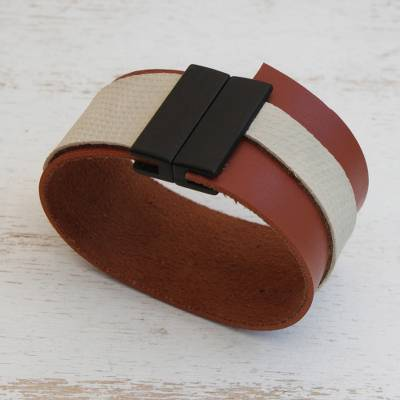 Faux leather wristband bracelet, Brown and Beige Tango' - Brown and Beige Faux Leather Wristband Bracelet from Brazil