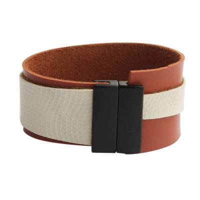 Brown and Beige Faux Leather Wristband Bracelet from Brazil