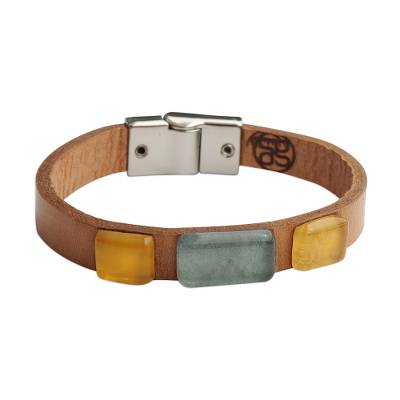 Blue and Yellow Glass and Leather Wristband Bracelet