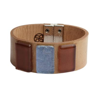 Blue and Brown Glass and Leather Wristband Bracelet
