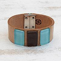 Glass and leather wristband bracelet, 'Blue Distance' - Blue Glass and Leather Wristband Bracelet from Brazil