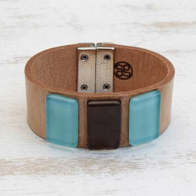 Glass and leather wristband bracelet, Blue Distance