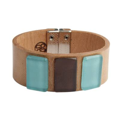 Blue Glass and Leather Wristband Bracelet from Brazil