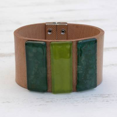 Glass and leather wristband bracelet, 'Green Skylights' - Green Glass and Leather Wristband Bracelet from Brazil