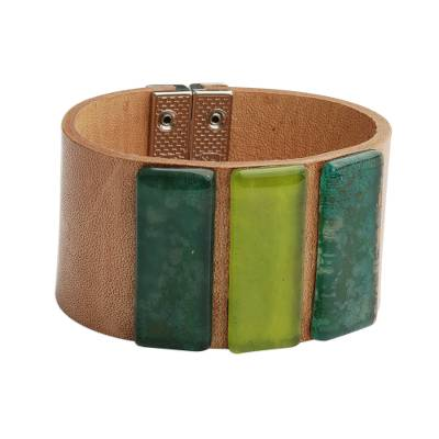 Green Glass and Leather Wristband Bracelet from Brazil