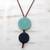 Glass and leather pendant necklace, 'Circular Modernity in Blue' - Blue Glass and Leather Pendant Necklace from Brazil thumbail