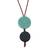Glass and leather pendant necklace, 'Circular Modernity in Blue' - Blue Glass and Leather Pendant Necklace from Brazil (image 2a) thumbail