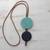 Glass and leather pendant necklace, 'Circular Modernity in Blue' - Blue Glass and Leather Pendant Necklace from Brazil (image 2c) thumbail