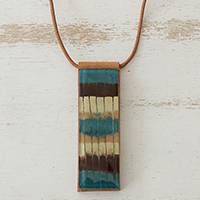 Glass and leather pendant necklace, 'Horizon Threads' - Striped Glass and Leather Pendant Necklace from Brazil