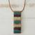 Glass and leather pendant necklace, 'Horizon Threads' - Striped Glass and Leather Pendant Necklace from Brazil thumbail