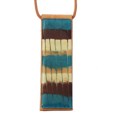 Striped Glass and Leather Pendant Necklace from Brazil