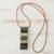 Glass and leather pendant necklace, 'Horizon Threads' - Striped Glass and Leather Pendant Necklace from Brazil (image 2b) thumbail