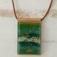 Glass and leather pendant necklace, 'Forest Layers' - Green Glass and Leather Pendant Necklace from Brazil