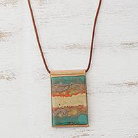 Glass and leather pendant necklace, 'Colorful Dunes' - Layered Glass and Leather Pendant Necklace from Brazil
