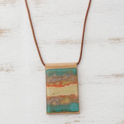 Glass and leather pendant necklace, 'Seaside' - Layered Glass and Leather Pendant Necklace from Brazil