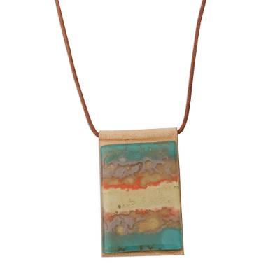 Layered Glass and Leather Pendant Necklace from Brazil
