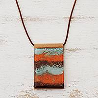 Glass and leather pendant necklace, 'Waves of Fire' - Orange Glass and Leather Pendant Necklace from Brazil