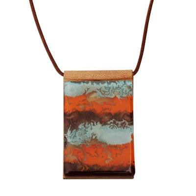 Orange Glass and Leather Pendant Necklace from Brazil