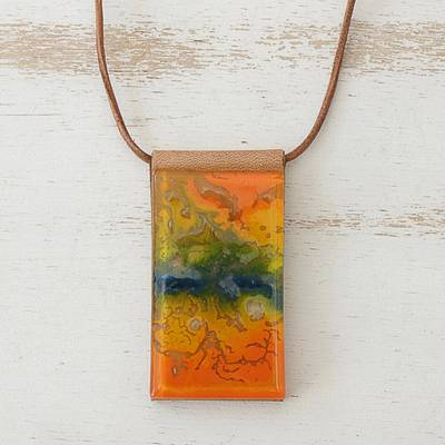 Glass and leather pendant necklace, 'Volcanic Fire' - Orange Glass and Leather Pendant Necklace from Brazil