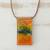 Glass and leather pendant necklace, 'Volcanic Fire' - Orange Glass and Leather Pendant Necklace from Brazil thumbail