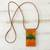 Glass and leather pendant necklace, 'Volcanic Fire' - Orange Glass and Leather Pendant Necklace from Brazil (image 2b) thumbail