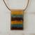 Glass and leather pendant necklace, 'Earth Waters' - Layered Glass and Leather Pendant Necklace from Brazil thumbail