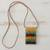 Glass and leather pendant necklace, 'Earth Waters' - Layered Glass and Leather Pendant Necklace from Brazil (image 2b) thumbail
