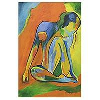 'Natasha' - Signed Colorful Expressionist Painting of a Woman