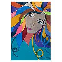 'Carnival Color' - Colorful Naif Painting of a Woman from Brazil