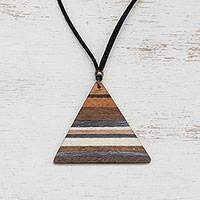 Gold accented wood pendant necklace, 'Triangular Horizons' - Triangular Wood Pendant Necklace with Colorful Stripes