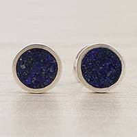 Lapis lazuli stud earrings, 'Planetary Blue' - Circular Lapis Lazuli Stud Earrings from Brazil