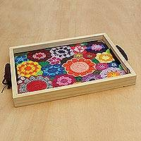 Cotton and wood tray, 'Great Floral Field' - Multicolored Floral Cotton and Wood Tray from Brazil
